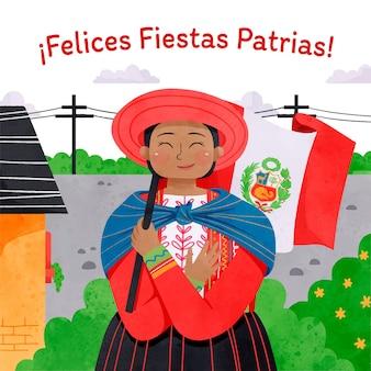 Ilustração pintada à mão em aquarela fiestas patrias de peru
