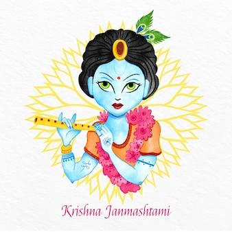 Ilustração pintada à mão em aquarela krishna janmashtami
