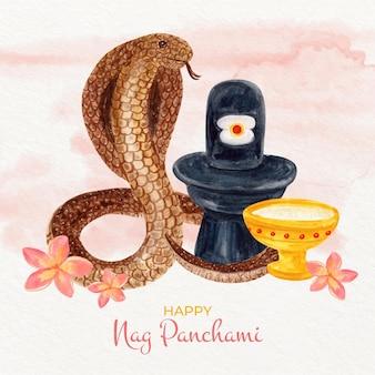 Ilustração pintada à mão em aquarela nag panchami