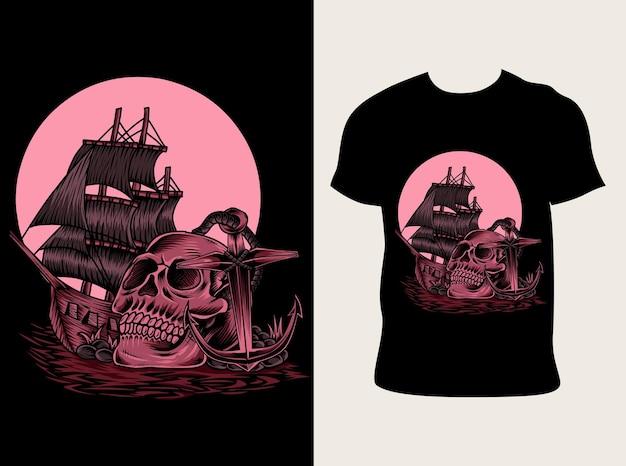 Ilustração pirata de caveira com design de camiseta