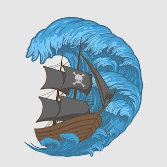 Ilustração piratas navio em ondas