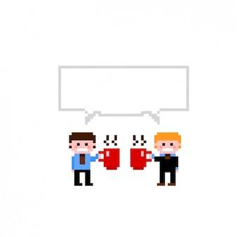 Ilustração pixelizada de empresários