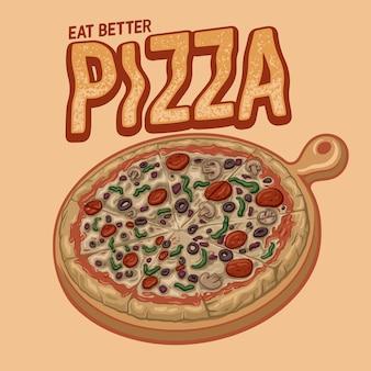 Ilustração pizza com ingrediente fresco