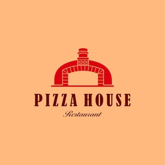 Ilustração pizza comida caseira com tijolo para assar logo design restaurante símbolo