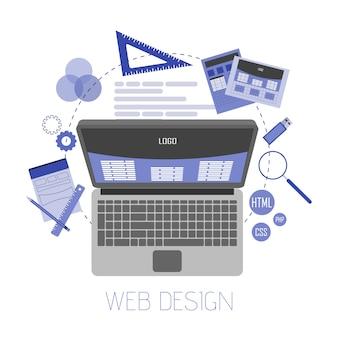 Ilustração plana abstrata de web design e desenvolvimento