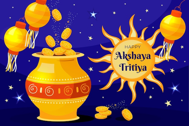 Ilustração plana akshaya tritiya Vetor grátis