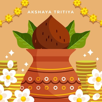 Ilustração plana akshaya tritiya