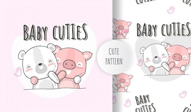Ilustração plana animais fofos bebê urso com porco