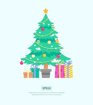 Ilustração plana, árvore de natal e caixa de presente, usada para web, aplicativo, infográfico, impressão, etc.