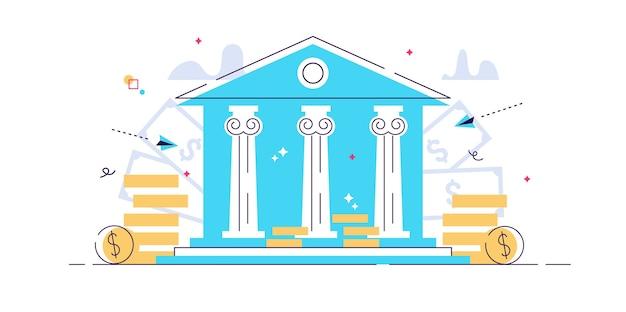 Ilustração plana banco edifício banco financiamento serviços financeiros de troca de dinheiro