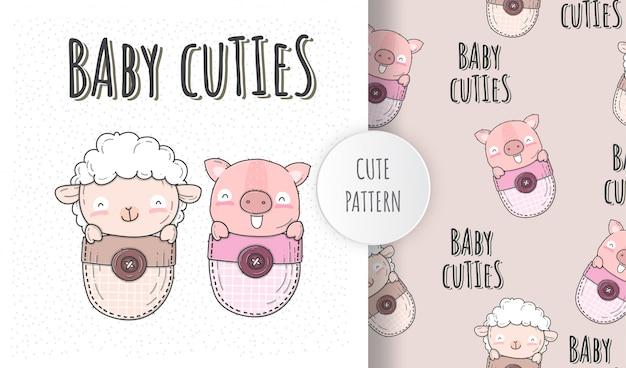 Ilustração plana bebê fofo ovelha com porco