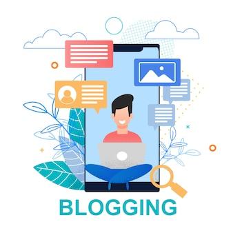 Ilustração plana blogging. tela do smartphone.