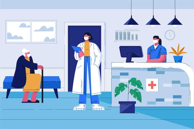 Ilustração plana cena da recepção do hospital