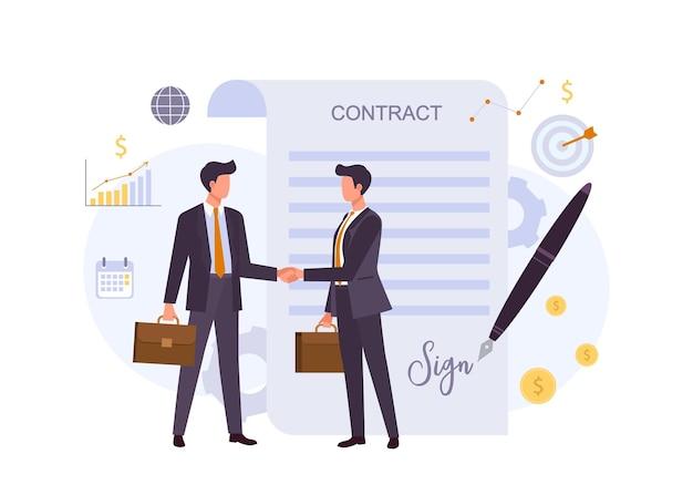 Ilustração plana colorida de acordo comercial