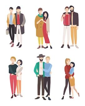 Ilustração plana colorida de casais homossexuais. homens e mulheres lgbt apaixonados.