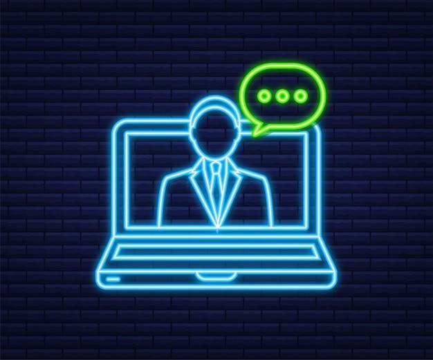 Ilustração plana com atendimento ao cliente. ilustração em vetor 3d. serviço de suporte ao cliente. ícone de néon.