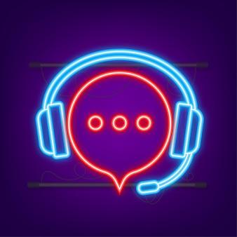Ilustração plana com atendimento ao cliente. serviço de suporte ao cliente. ícone de néon.