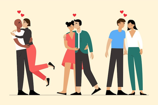 Ilustração plana com casais se beijando