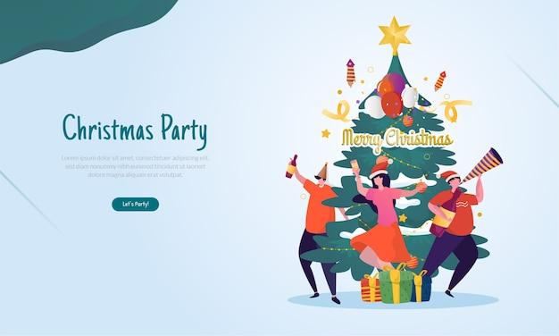 Ilustração plana com conceito de celebração de festa de natal