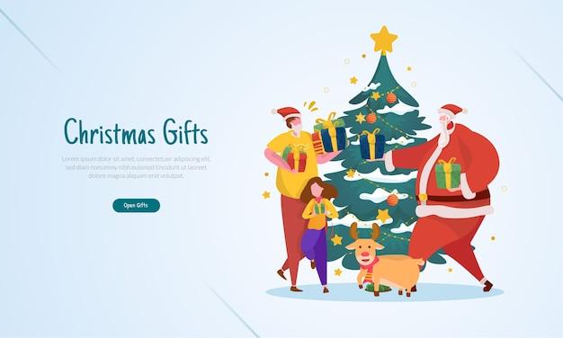 Ilustração plana com conceito de celebração de presente de natal