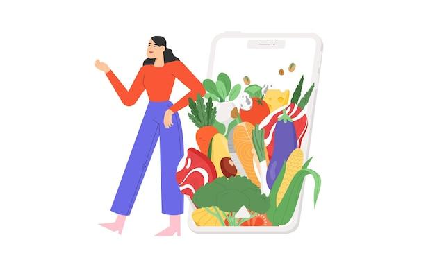 Ilustração plana com produtos dietéticos ou orgânicos ou nutrição balanceada