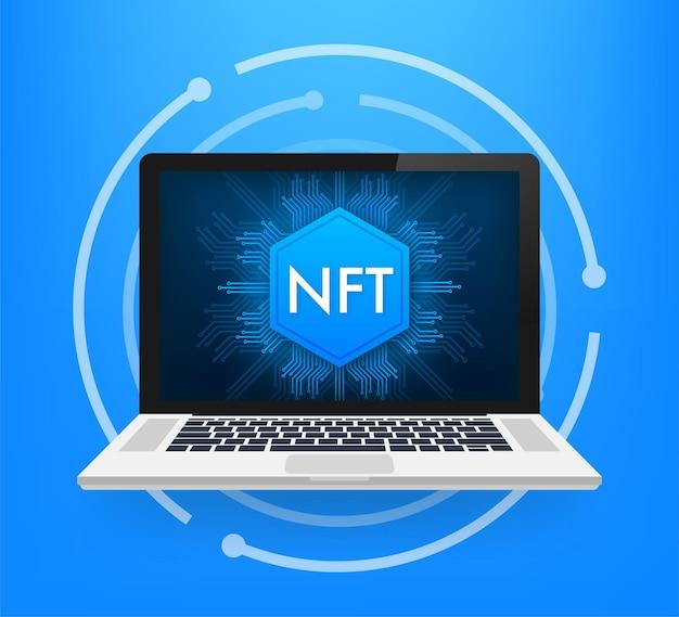 Ilustração plana com tela do laptop nft. vetor de banner. design plano. arte de desenho vetorial.