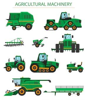 Ilustração plana conjunto maquinaria agrícola.