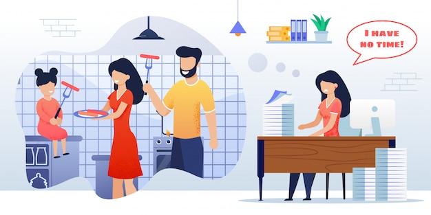 Ilustração plana cozinha família feliz cozinha