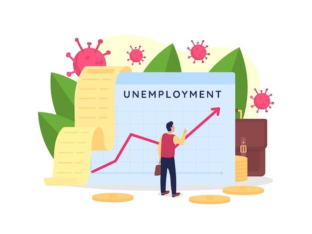 Ilustração plana crescente da taxa de desemprego. fracasso empresarial.