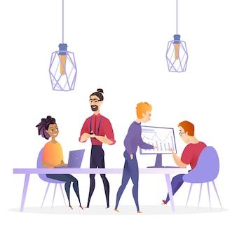 Ilustração plana criativa empresa de negócios de escritório