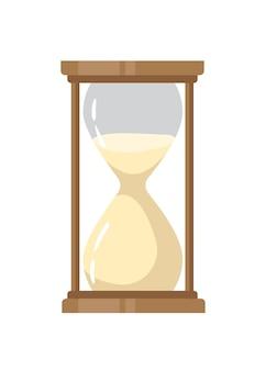 Ilustração plana da ampulheta. elemento de design de cor de relógio vintage