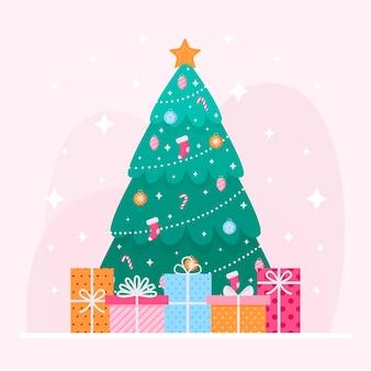 Ilustração plana da árvore de natal
