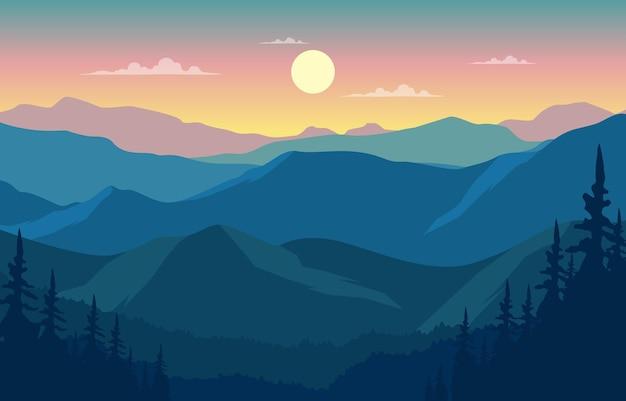Ilustração plana da bela paisagem da montanha da floresta de pinheiros