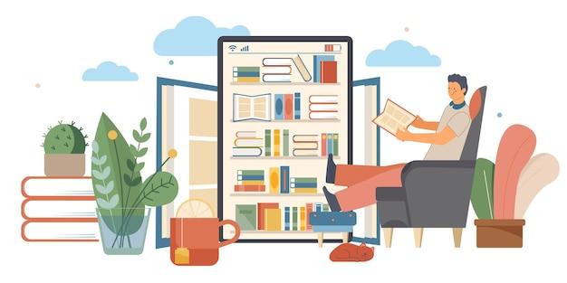 Ilustração plana da biblioteca online com livro eletrônico e homem lendo um livro em um tablet em casa