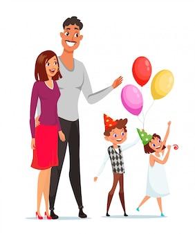 Ilustração plana da celebração da família isolada no branco