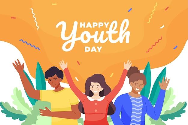 Ilustração plana da celebração do dia da juventude