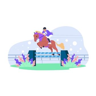 Ilustração plana da competição de corrida de cavalos
