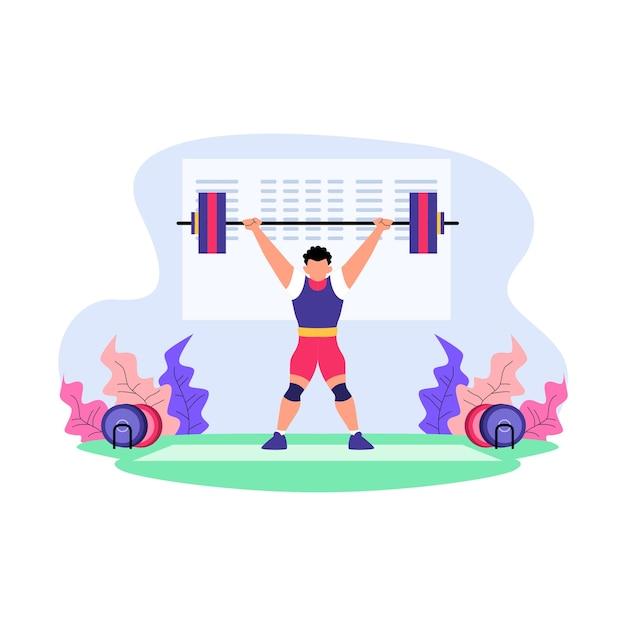 Ilustração plana da competição de levantamento de peso