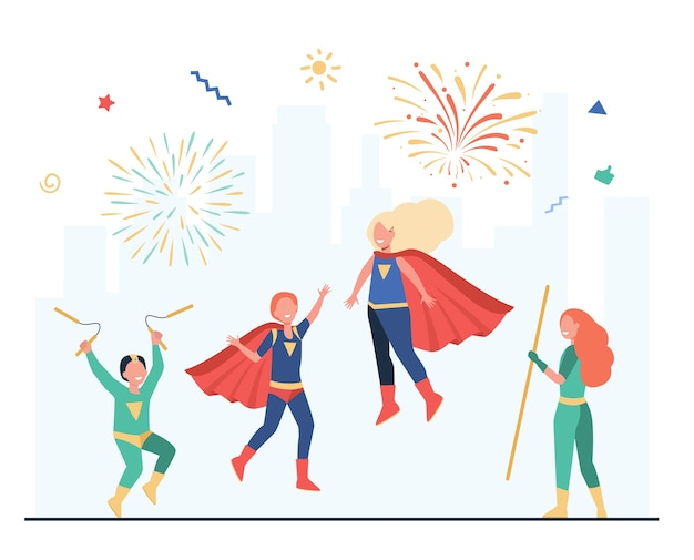Ilustração plana da equipe feliz super-herói crianças.