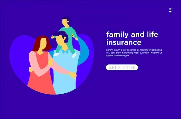 Ilustração plana da família feliz