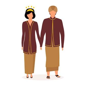 Ilustração plana da indonésia. casal de mãos dadas.