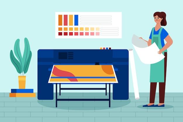 Ilustração plana da indústria de impressão