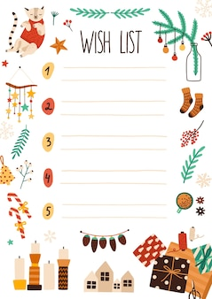 Ilustração plana da lista de desejos do natal. página de folha de caderno com decorações festivas. desenho de carta de papai noel com enfeites de natal. lista numerada com tema de férias de inverno com lugar para texto.