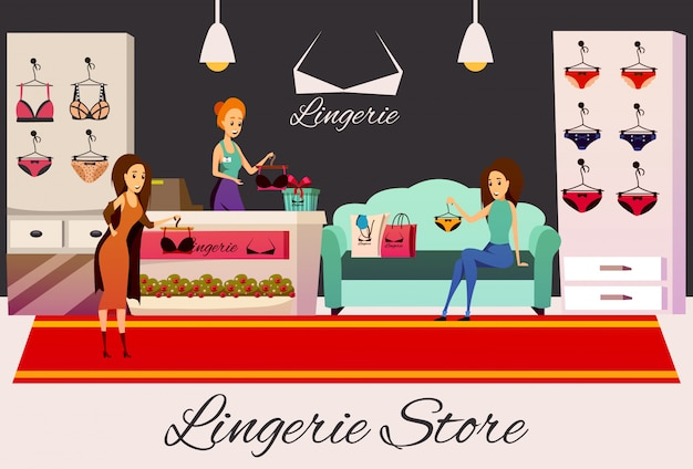 Ilustração plana da loja de roupas íntimas