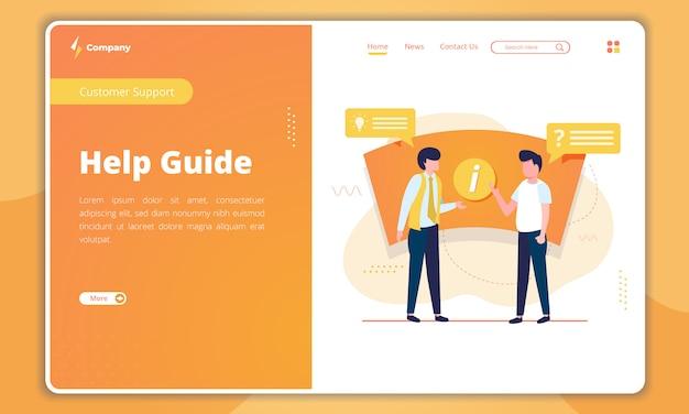 Ilustração plana da página de destino do guia de ajuda