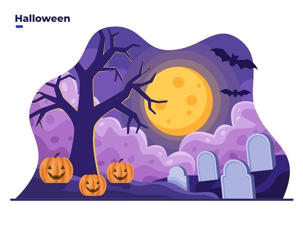Ilustração plana da paisagem da noite de halloween com o cemitério de abóboras na lua cheia