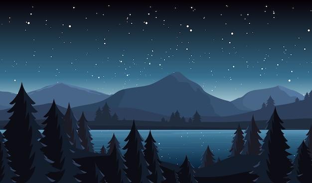 Ilustração plana da paisagem do lago à noite. fundo de cena de montanha, rio e céu estrelado.