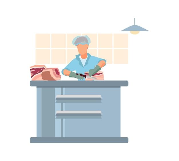 Ilustração plana da planta de processamento de carne com o trabalhador uniformizado, cortando carne