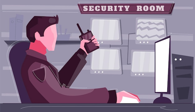 Ilustração plana da sala de controle de segurança personagem de guarda com rádio portátil assistindo na tela