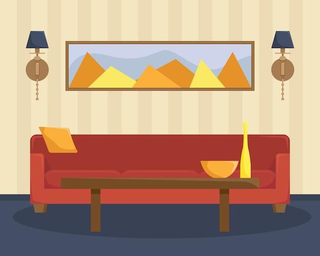 Ilustração plana da sala de estar com um sofá vermelho e uma mesa de café.